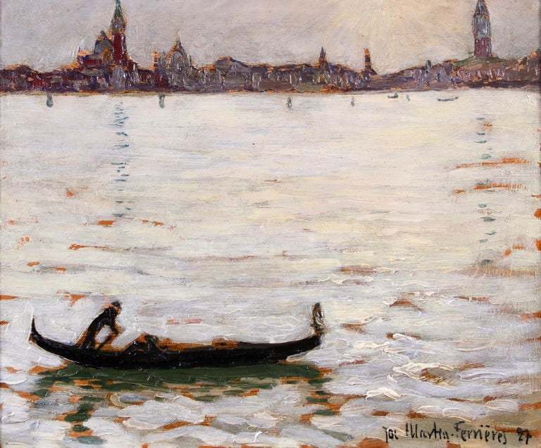 Sunset - Venice - Post Impressionist Oil, Cityscape by Jacques Martin-Ferrieres - Painting by Jacques Martin-Ferrières