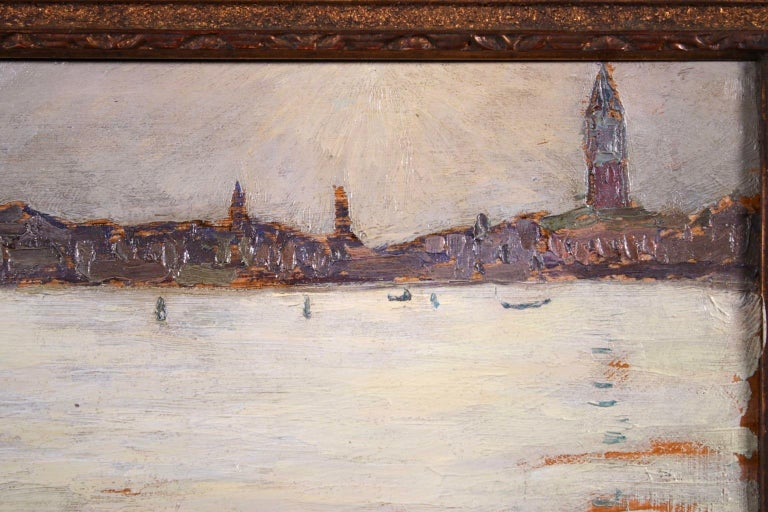 Sunset - Venice - Post Impressionist Oil, Cityscape by Jacques Martin-Ferrieres - Post-Impressionist Painting by Jacques Martin-Ferrières