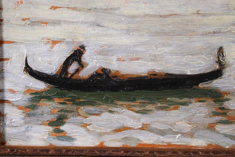 A beautiful oil on panel by French post-impressionist painter Jacques Martin-Ferrieres depicting a view of lone gondolier rowing his gondola with a backdrop of the city of Venice in the distance with the sun setting behind.  Signature: Signed and