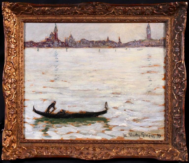 Jacques Martin-Ferrières Landscape Painting - Sunset - Venice - Post Impressionist Oil, Cityscape by Jacques Martin-Ferrieres