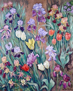 Tulips - Post Impressionist Oil, Flowers Landscape by Jacques Martin-Ferrieres