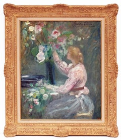 Lady With The Bunch of Flowers, Painting Post Impressionist
