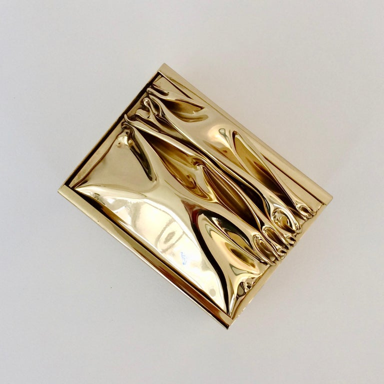 French Jacques Moniquet Decorative Brass Box for Cheret, circa 1970, France For Sale