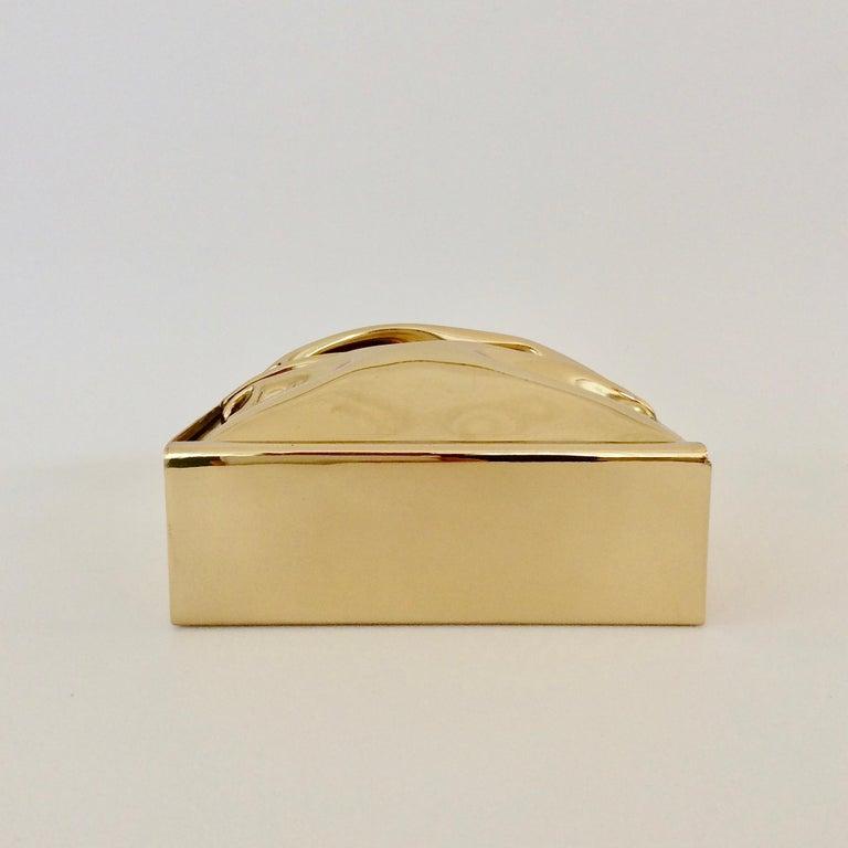 Polished Jacques Moniquet Decorative Brass Box for Cheret, circa 1970, France For Sale