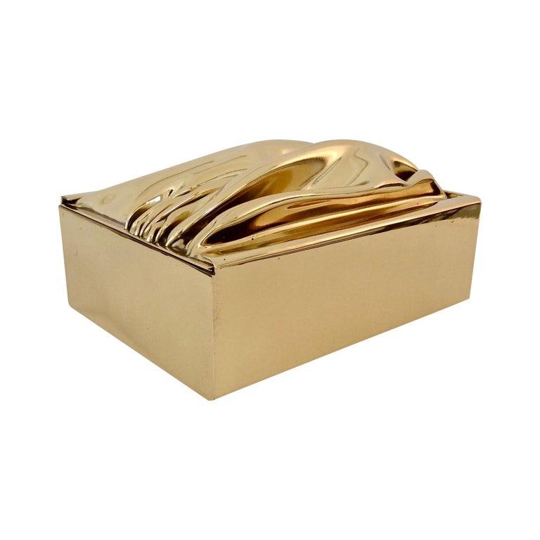 Jacques Moniquet Decorative Brass Box for Cheret, circa 1970, France For Sale
