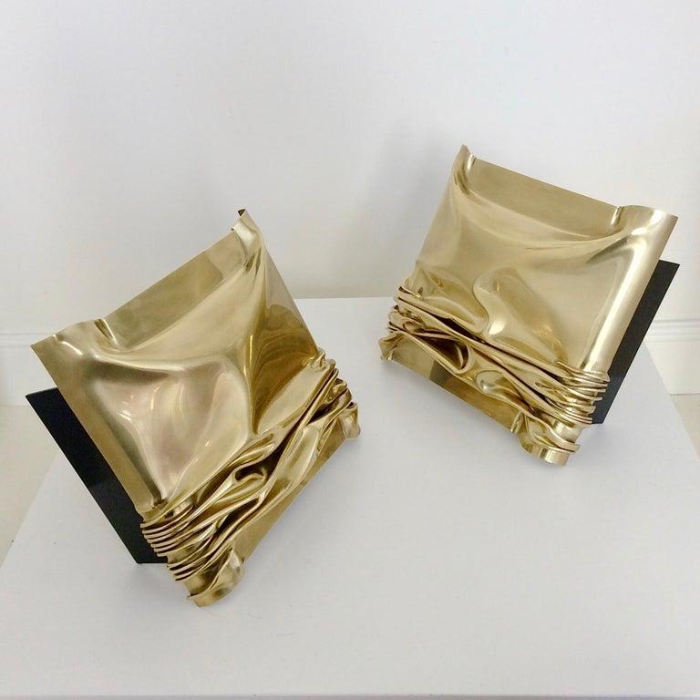 Jacques Moniquet Pair of Brass Sconces for Cheret AAM Paris, circa 1975, France For Sale 3