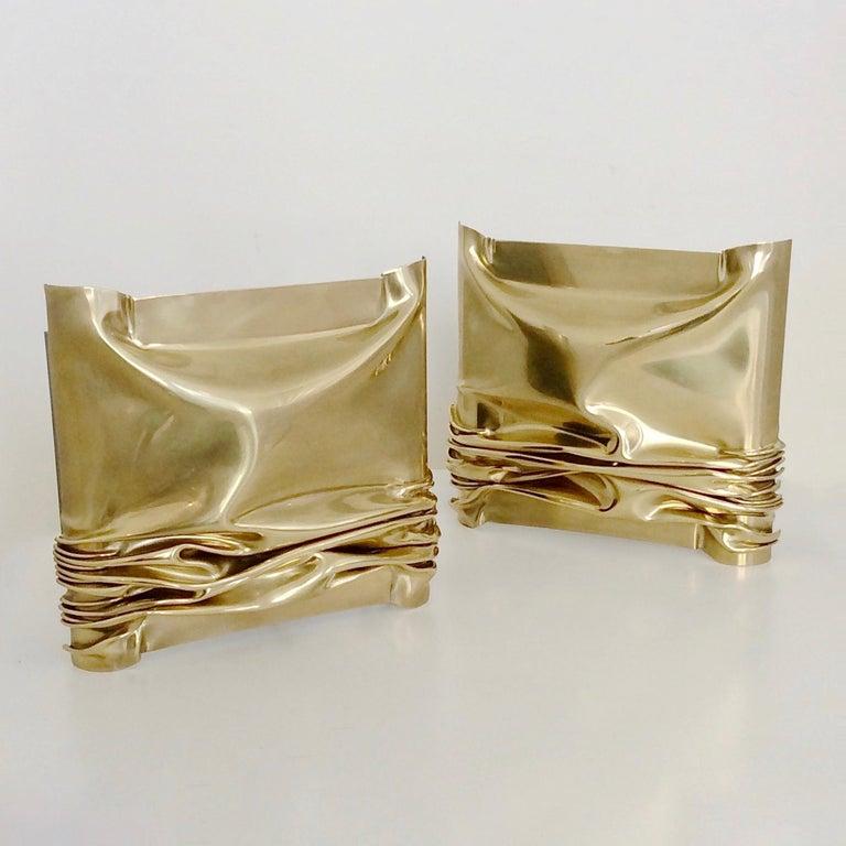 Jacques Moniquet Pair of Brass Sconces for Cheret AAM Paris, circa 1975, France For Sale 7