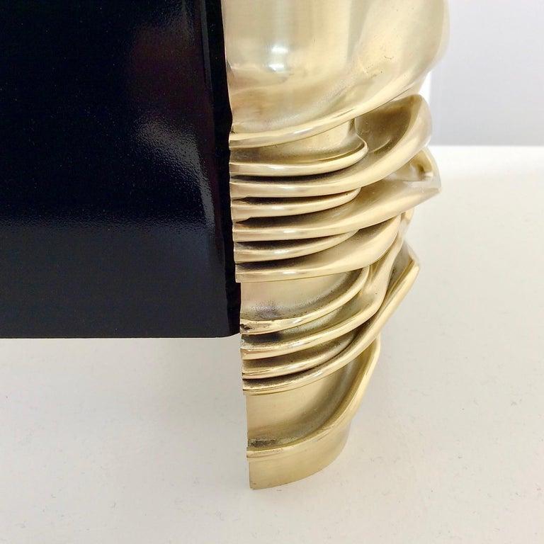 Polished Jacques Moniquet Pair of Brass Sconces for Cheret AAM Paris, circa 1975, France For Sale