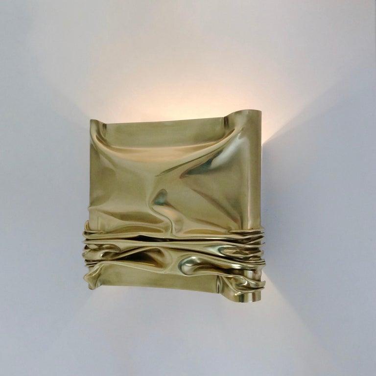 Late 20th Century Jacques Moniquet Pair of Brass Sconces for Cheret AAM Paris, circa 1975, France For Sale