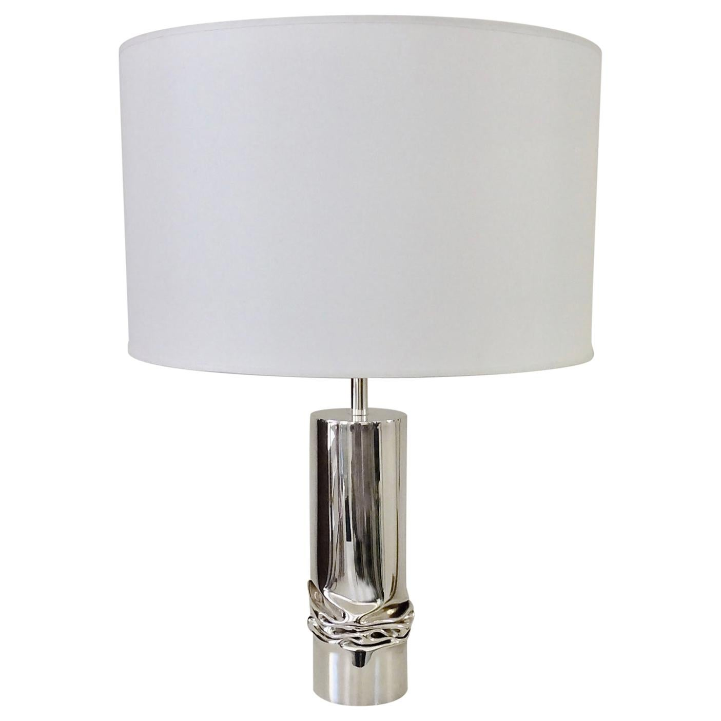 Jacques Moniquet Silver Plated Table Lamp, Cheret Edition, circa 1975, France