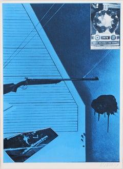 Jacques Monory - In Honor of Oklahoma's War Heroes, 1976,  Original Screenprint