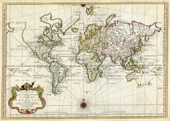 Antique world map - Erdkugel and compass by Bellin - Handcol. engraving - 18th c