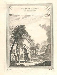 Habits et Maisons des Floridiens - Original Etching by J.-N. Bellin - 1747