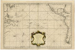 Highly decorative sea chart of the Pacific Ocean - Engraving - 18th century