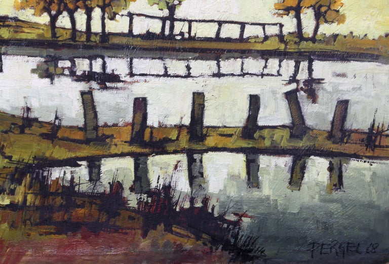 House on the Water, Oil Painting by Jacques Pergel For Sale 1