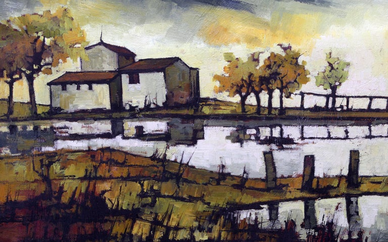 House on the Water, Oil Painting by Jacques Pergel For Sale 2