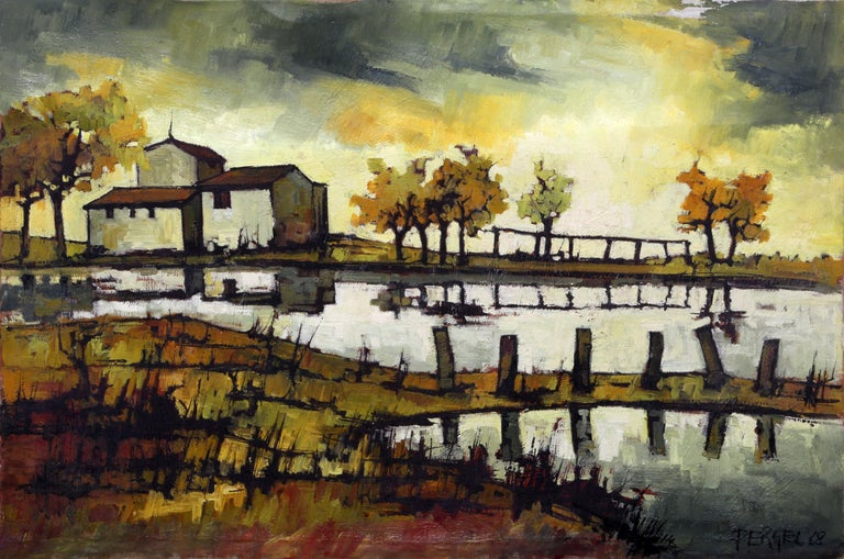 Artist: Jacques Pergel, French Title: House on the Water Year: 1968 Medium: Oil on Canvas, signed and dated lower right Size: 24 x 36 in. (60.96 x 91.44 cm)