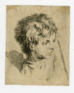 Head of a boy by Jacques Philippe le Bas - Etching - 18th Century