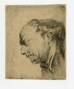 Head of a monk by Jacques Philippe le Bas - Etching - 18th Century