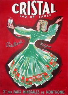 """""""Cristal Eau de Table"""" Original Vintage Beverage Poster"""