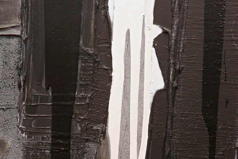 Canvas Jacques Pouchain Abstract Black and White Painting For Sale