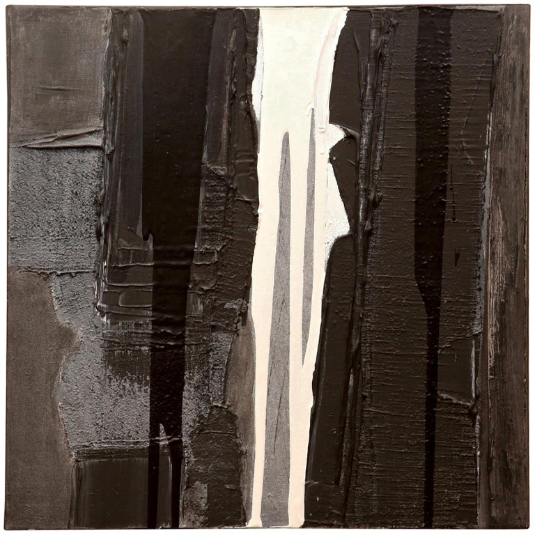 Jacques Pouchain Abstract Black and White Painting For Sale