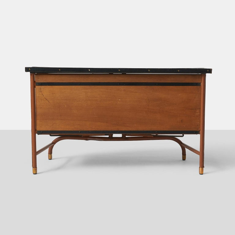 Mid-20th Century Jacques Quinet Commode in Leather For Sale