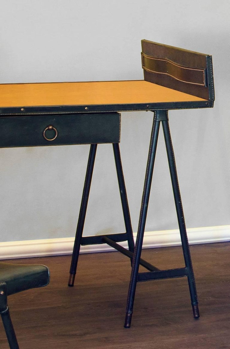 French Jacques Quinet Desk and Chair, France, 1960-1965 For Sale
