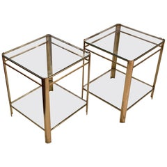 Jacques Quinet Pair Side Tables, France, 1940s