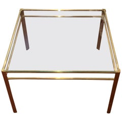 Jacques Quinet Brass and Glass Square Coffee Table, France, 1940s