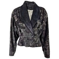 Jacques Sac Vintage Printed Suede Batwing Jacket 1980s
