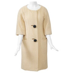 Jacques Tiffeau 1960s Ivory Waffle-Wool Coat