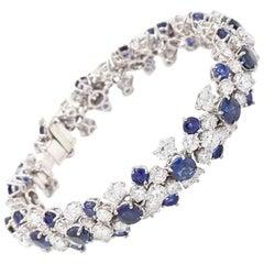 Jacques Timey for Harry Winston, 19.75CTW Diamond and 12.80CTW Sapphire Bracelet