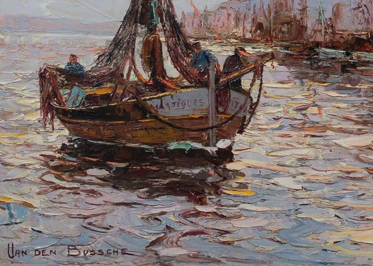 Dark & Earthy Thick Impasto Harbour Scene 'Martiques' by Van den Bussche  - Impressionist Painting by Jacques Van Den Bussche