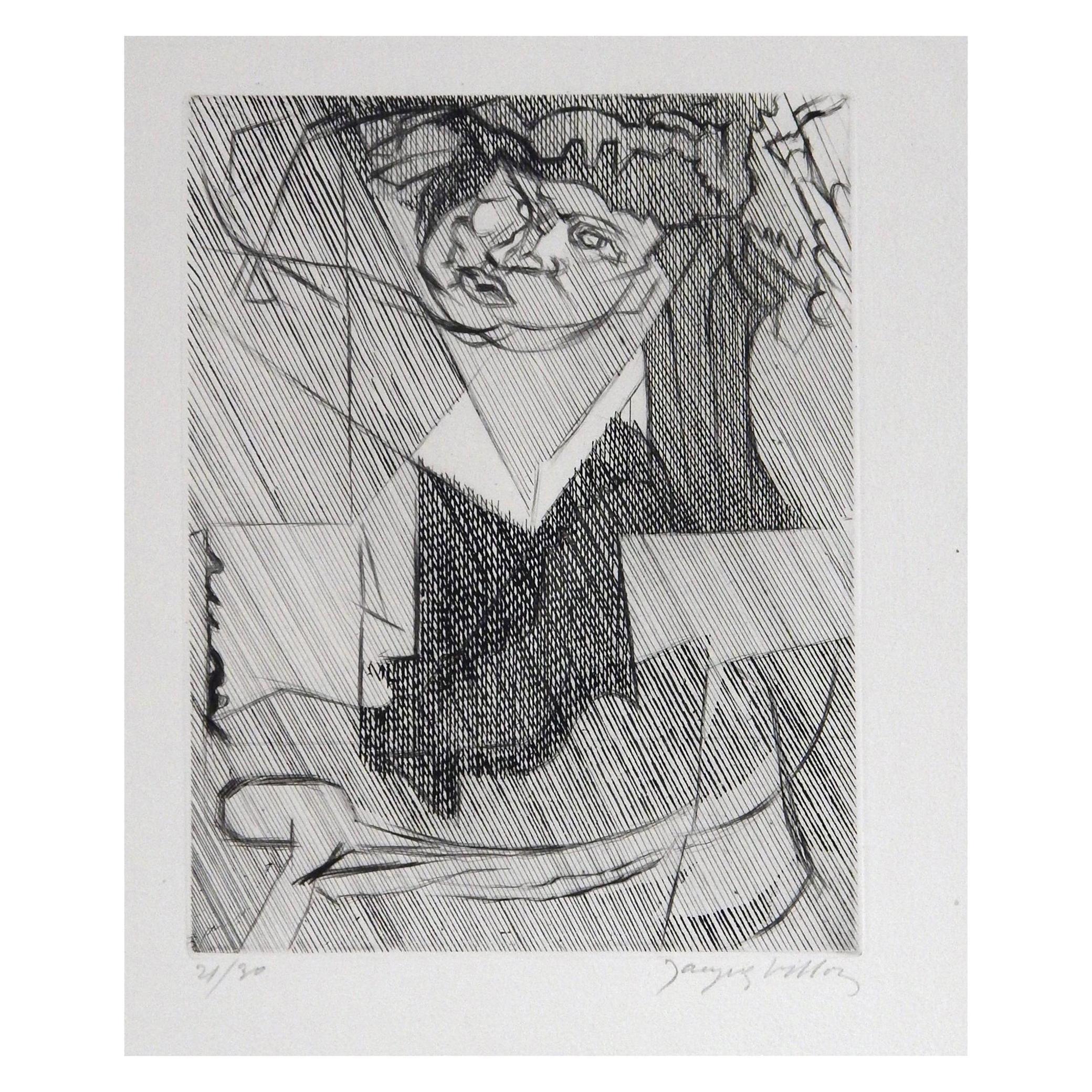 """Jacques Villon Cubist Original Etching, 1951, """"Figure de Femme"""""""