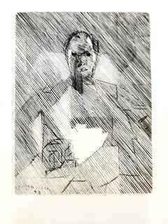 Jacques Villon - Cubist Man - Original Etching