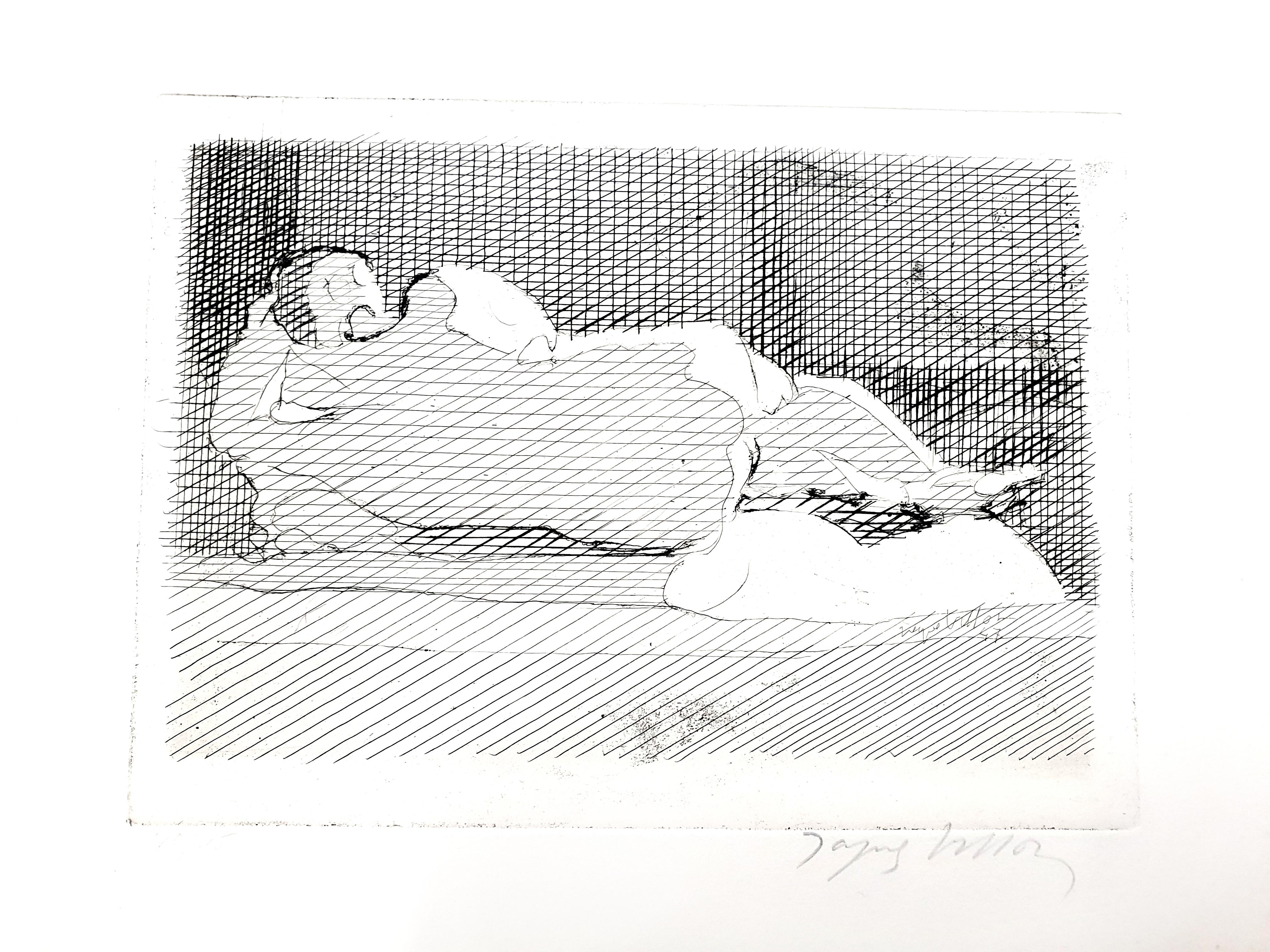 Jacques Villon - Sleeping Nude - Original Etching