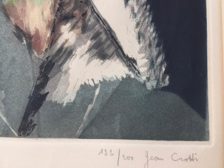 JACQUES VILLON (1875- 1963) after Jean Crotti  PORTRAIT d'HOMME (after Jean Crotti), 1928 (GP 658) Color aquatint, signed by Villon and Crotti in pencil. Edition of 200, this example is 132/200. Plate 18 1/8