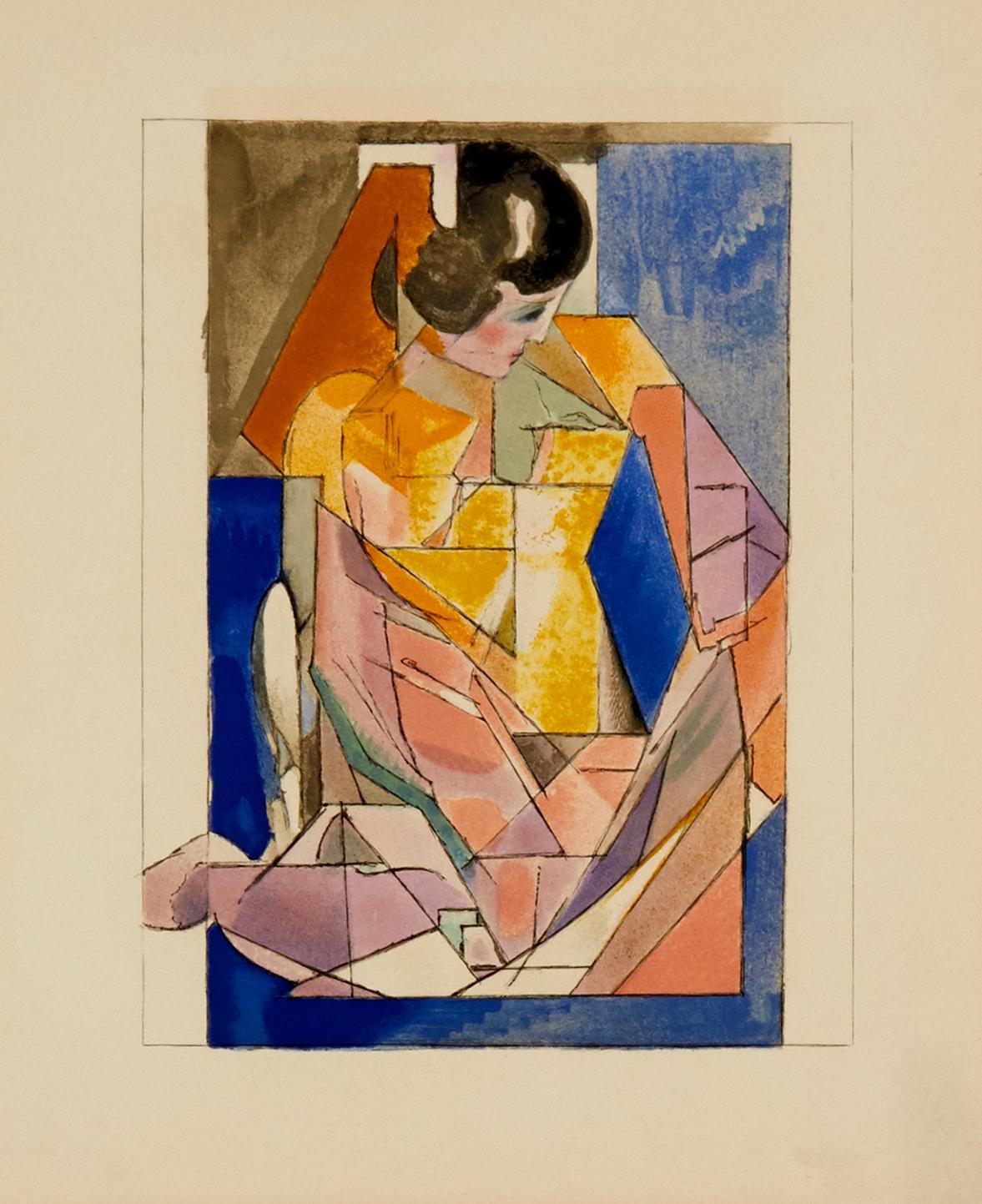 Portrait d'une Jeune Fille by Jacques Villon - colorful lithograph