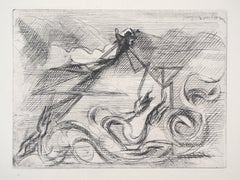 Surrealist Mountain - Original Etching, 1946