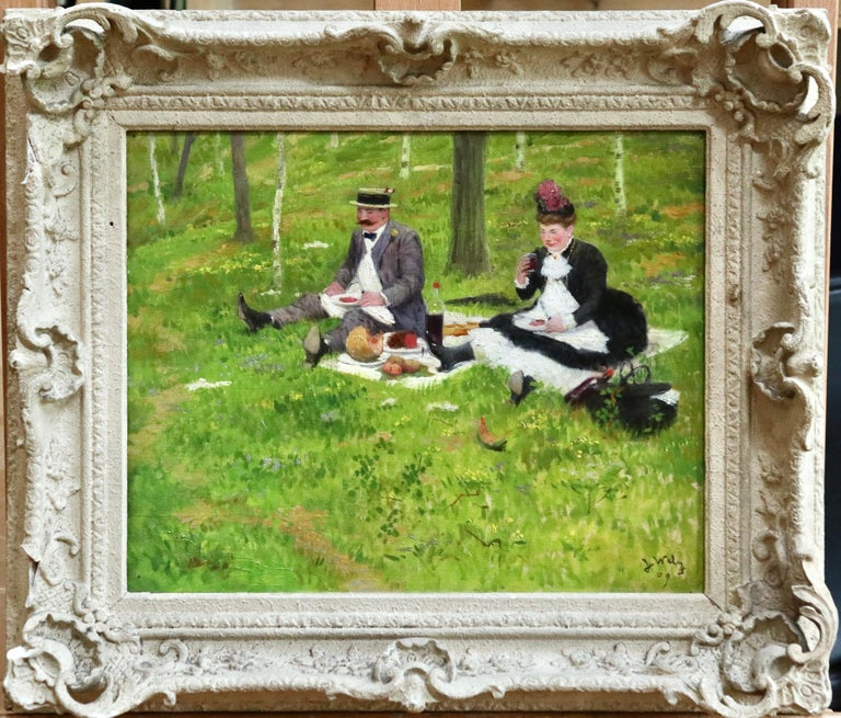 The Picnic - 19th Century Oil, Elegant Figures in Landscape by Jacques Wely For Sale 1