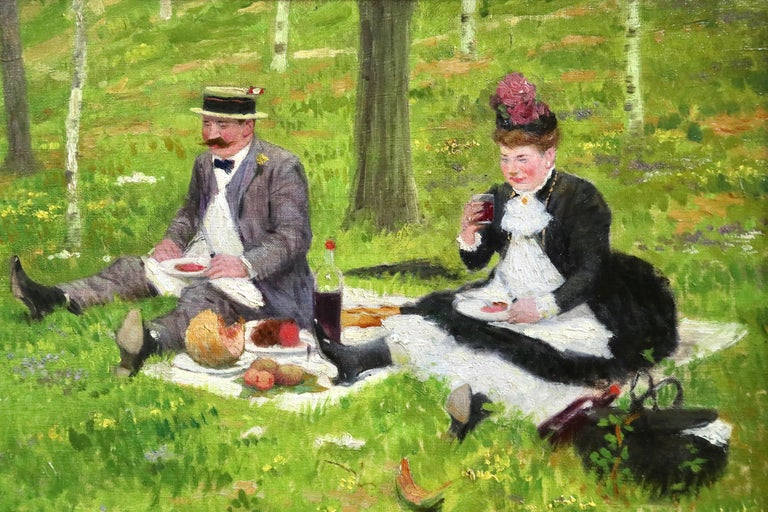 The Picnic - 19th Century Oil, Elegant Figures in Landscape by Jacques Wely For Sale 3