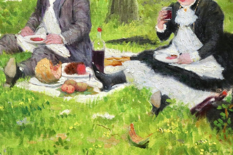 The Picnic - 19th Century Oil, Elegant Figures in Landscape by Jacques Wely For Sale 4