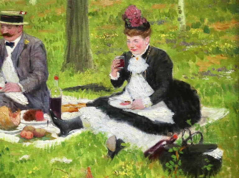 The Picnic - 19th Century Oil, Elegant Figures in Landscape by Jacques Wely For Sale 8
