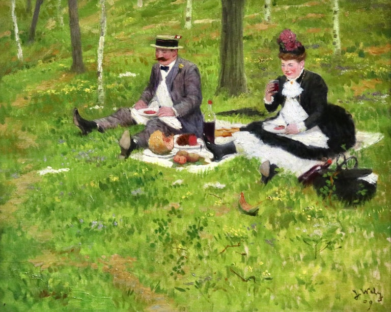 Oil on canvas by Jacques Wely depicting an elegant man and woman enjoying a picnic. Signed and dated 1909 lower right. Framed dimensions are 19 inches high by 22 inches wide.  Jacques Wely Jacques Wely was a French painter and illustrator born in