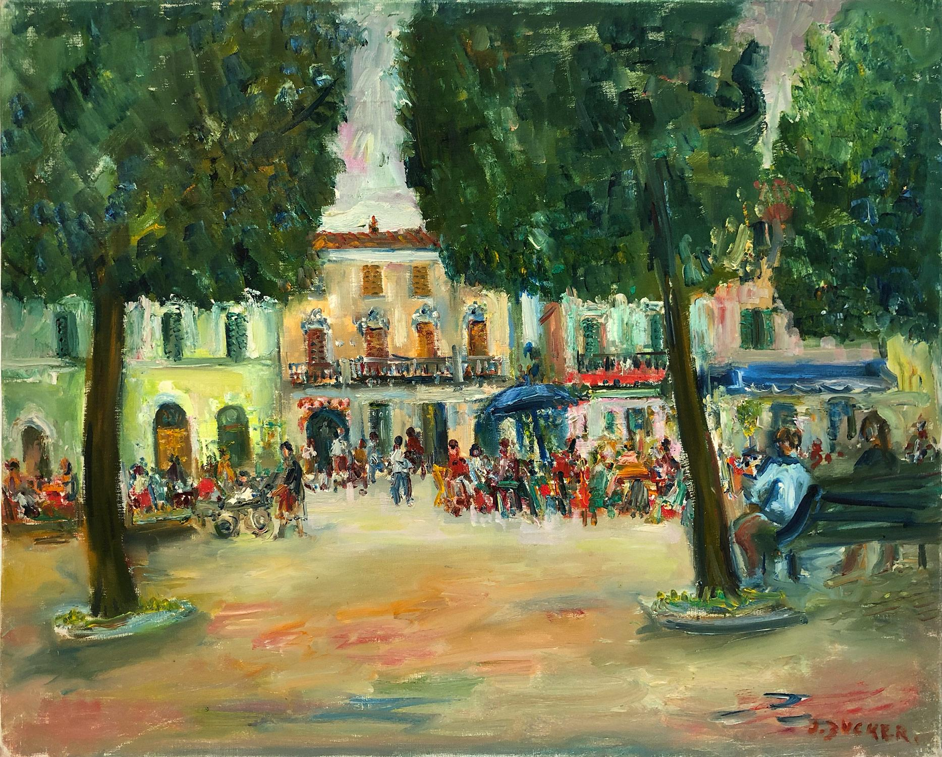 """""""Downtown Plaza"""" Post-Impressionism Landscape Oil Painting with Figures in Plaza"""