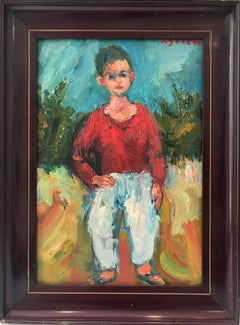 """Boy Standing"" Post-Impressionism French Oil Painting on Board of Figure Outside"