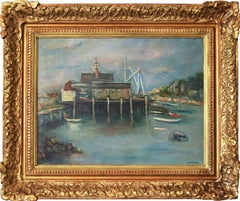 """""""Buildings at the Pier"""" Impressionist Outdoor Port Scene Oil Painting on Canvas"""