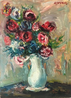 """Flower Still Life"" Post-Impressionism French Oil Painting of Colorful Flowers"