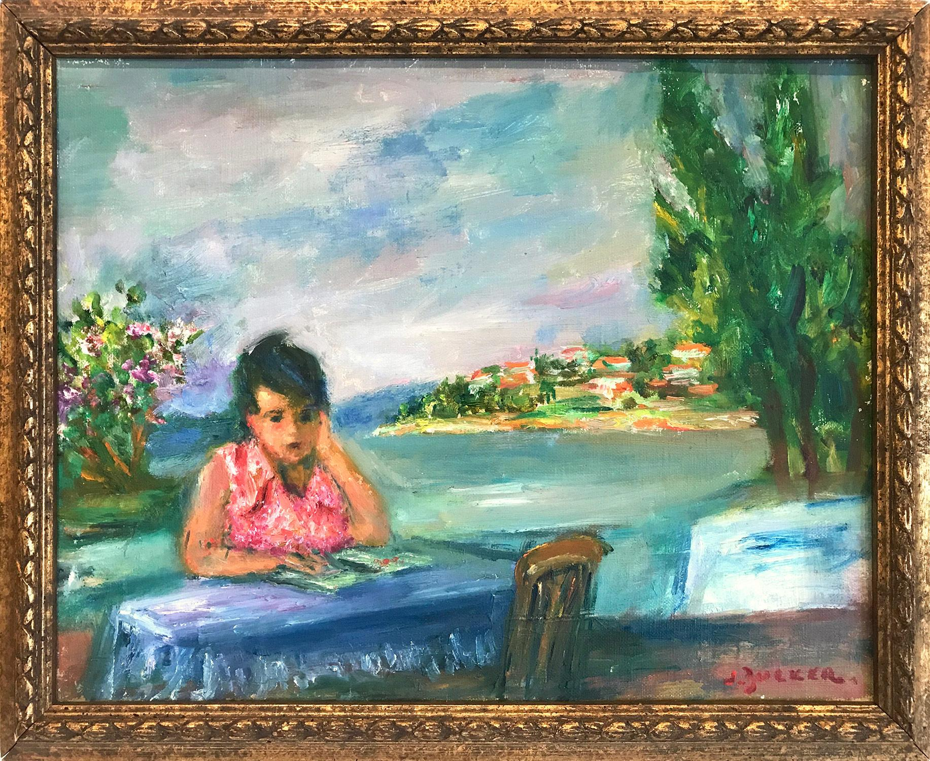 """""""Girl Reading at Sea Shore"""" Post-Impressionism Figurative Oil Painting on Canvas"""